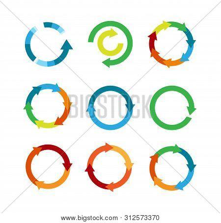 Multicolored Arrows In Circular Motion. Arrow Combinations. Rotation Arrows. Circle Arrow Icon. Recy