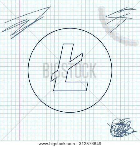 Cryptocurrency Coin Litecoin Ltc Line Sketch Icon Isolated On White Background. Physical Bit Coin. D