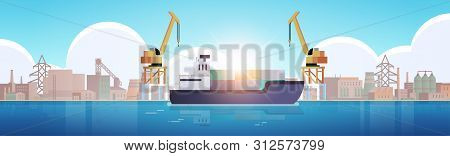 Cranes In Port Loading Containers On Ship Cargo Industrial Seaport Sea Transportation Logistic Marit