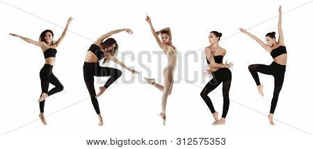 Collage Of Contemporary Dancer In Different Positions Isolated On White Backgroung. Panorama