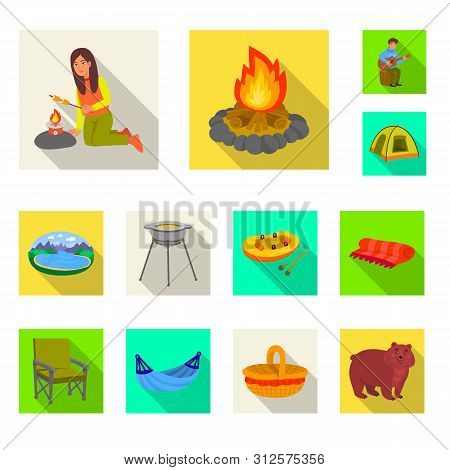 Isolated Object Of Cookout And Wildlife Symbol. Set Of Cookout And Rest Stock Symbol For Web.