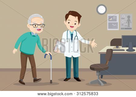 Elderly  Walking.docter Helps  Grandmother To Go To The Walker. Caring For The Elderly.doctor And Ol