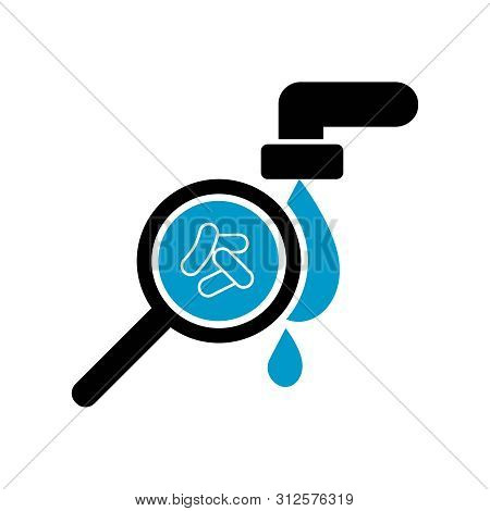 Contaminated Water Icon Vector Icon. Bacteria In Water. Cholera. Magnifying Glass. Cholera