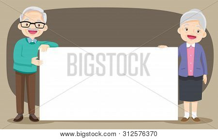 Grandparents Day.grandparents.senior People Holding Empty Banner With Copy Space.smiling Aged Retire