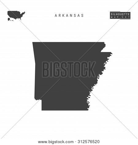 Arkansas Us State Blank Vector Map Isolated On White Background. High-detailed Black Silhouette Map