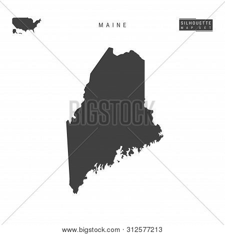 Maine Us State Blank Vector Map Isolated On White Background. High-detailed Black Silhouette Map Of