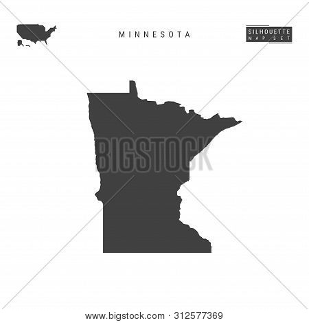 Minnesota Us State Blank Vector Map Isolated On White Background. High-detailed Black Silhouette Map
