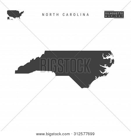North Carolina Us State Blank Vector Map Isolated On White Background. High-detailed Black Silhouett