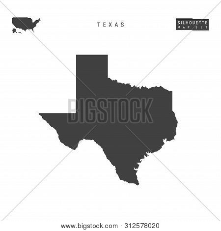 Texas Us State Blank Vector Map Isolated On White Background. High-detailed Black Silhouette Map Of