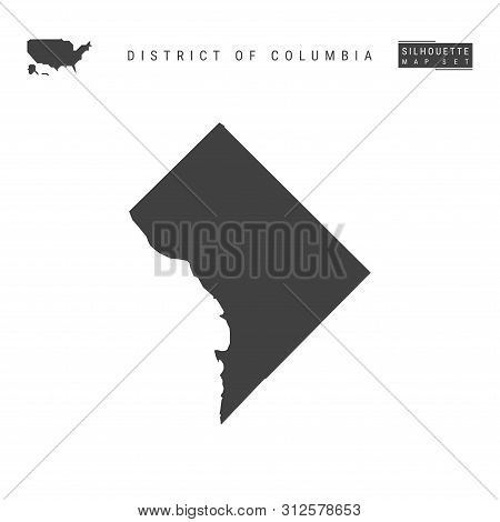 District Of Columbia Blank Vector Map Isolated On White Background. High-detailed Black Silhouette M