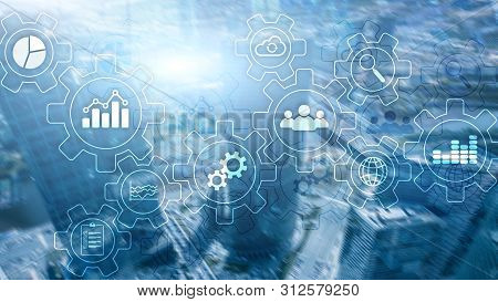 Business Process Abstract Diagram With Gears And Icons. Workflow And Automation Technology Concept