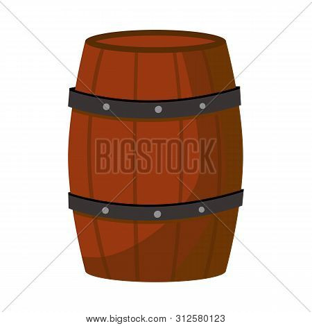 Isolated Object Of Cask And Wine Sign. Set Of Cask And Wooden Vector Icon For Stock.