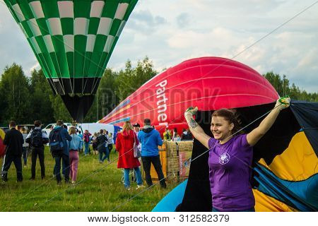 Pereslavl-zalessky, Yaroslavl Region / Russia - July, 20, 2019: Inflating And Installing Balloons To