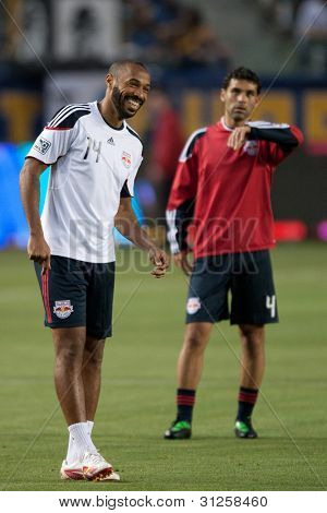 CARSON, CA. - MAY 7: New York Red Bulls F Thierry Henry #14 (L) & New York Red Bulls D Rafa Marquez #4 (R) before the MLS game on May 7 2011 at the Home Depot Center in Carson, CA.