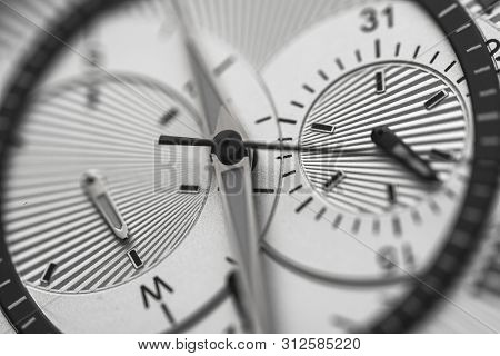 Closeup To Watch Clockwise, Time Concept Black And White