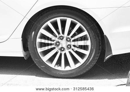 Amman/jordan 1 July 2019, Hyundai Car Wheel Under Sunlight