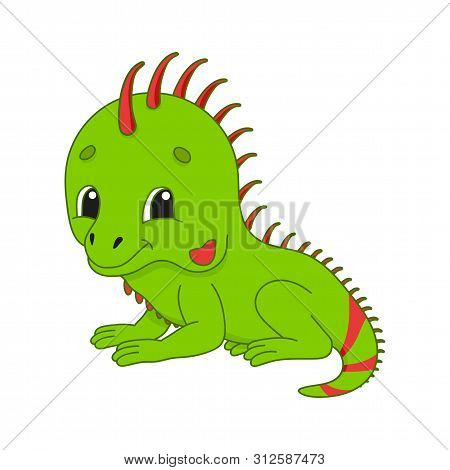Green Iguana. Cute Character. Colorful Vector Illustration. Cartoon Style. Isolated On White Backgro