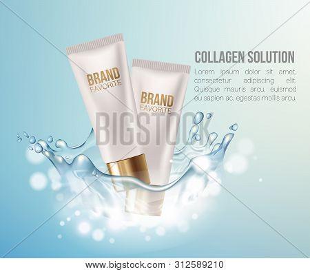 Regeneration Cream.water. Coenzyme Q10. Collagen Serum And Vitamin Background Concept Skin Care Cosm