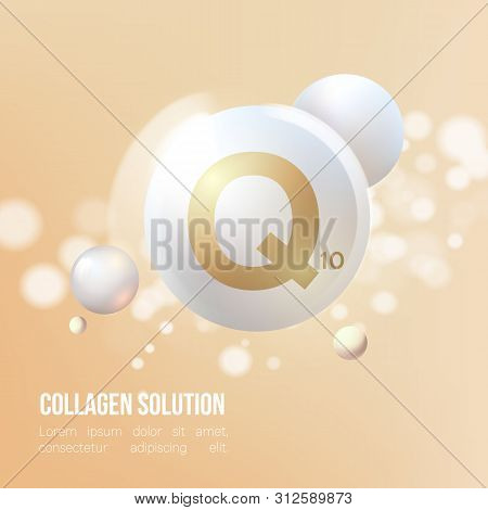 Coenzyme Q10.Regeneration. Collagen Serum and Vitamin Background Concept Skin Care Cosmetic.Elegant and stylish Background. poster