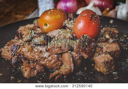 Cut Beef Steak Grilled With Spices Seasoning.