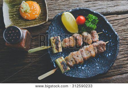 Japanese Style Skewers Pork Grilled.