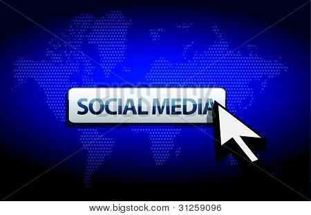 social media blue background with a map of the world