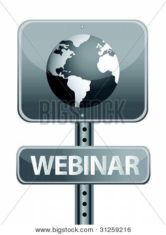webinar street sign and globe illustration design