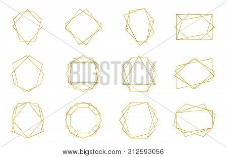 Golden Geometric Frame. Luxury Wedding Invitation Polyhedron Art Deco Elements, Modern Border Shape.