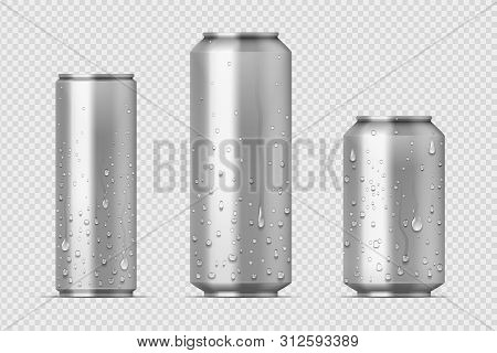 Realistic Metal Cans. Aluminum Bear Soda And Lemonade Cans With Water Drops, Energy Drink Blank Mock