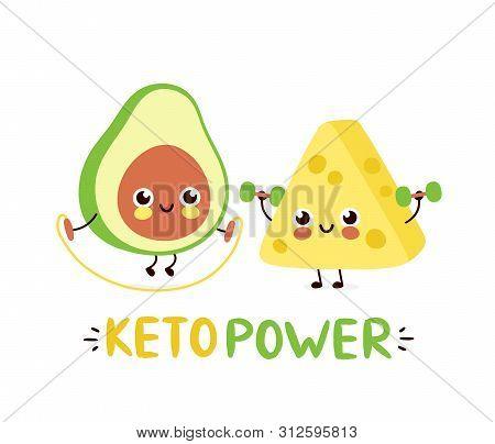 Cute Strong Smiling Happy Avocado And Cheese Make Gym. Keto Power Card Design.vector Flat Cartoon Ch