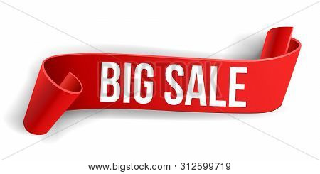 Red Big Sale Banner. Ribbon. Vector Illustrationred Sale Banner. Ribbon. Paper, Carton Textured.
