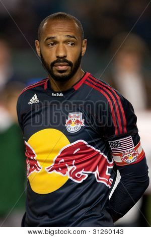 CARSON, CA. - MAY 7: New York Red Bulls F Thierry Henry #14 before the MLS game between the New York Red Bulls & the Los Angeles Galaxy on May 7 2011 at the Home Depot Center in Carson, CA.