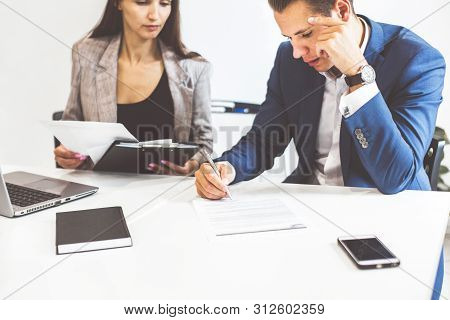 Caucasian Man Signing Contract, Hand Putting Signature On Official Document, Biracial Clients Custom