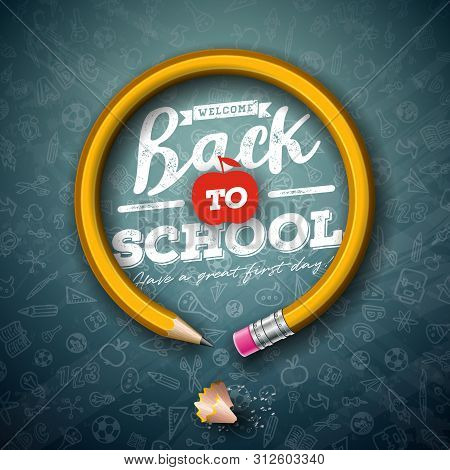 Back To School Design With Graphite Pencil And Typography Lettering On Black Chalkboard Background.