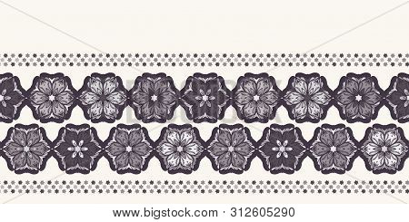 Hand Drawn Abstract Christmas Flower Border Pattern. Stylized Poinsettia Floral Banner. Black White