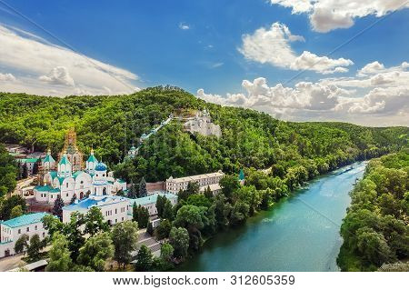 Svaytogorsk Lavra Ancient Monastery Hills Panoramic View With Green Forest And Donets River At Donba