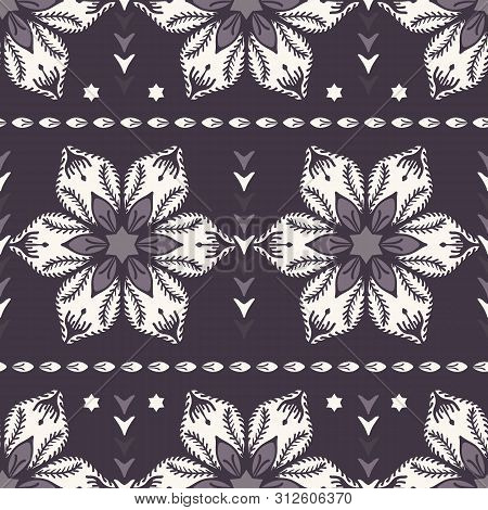 Drawn Abstract Christmas Flower Pattern. Stylized Poinsettia Floral. Black White Background. Winter