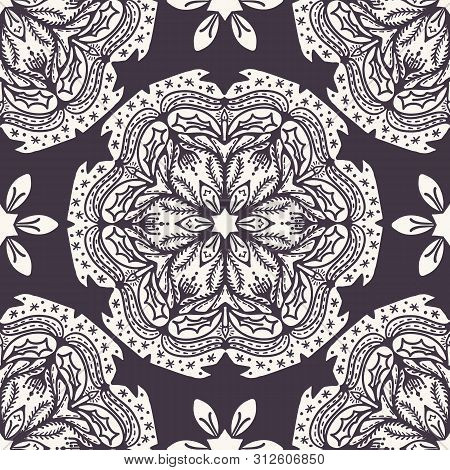 Hand Drawn Abstract Christmas Flower Pattern. Stylized Poinsettia Floral Mandala Background. Winter