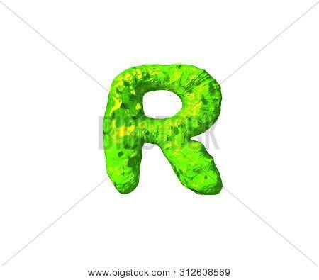 Letter R In Monstrous Style Isolated On White Background - Toxic Alien Flesh Alphabet, 3d Illustrati