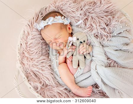 smiling newborn baby girl sleeping sweetly in the basket with a small toy