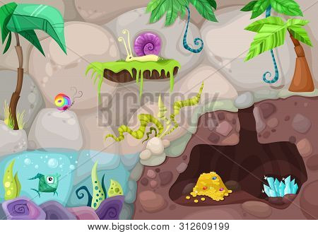 Vector Illustration Of A Beautiful Background With Dungeon And Water