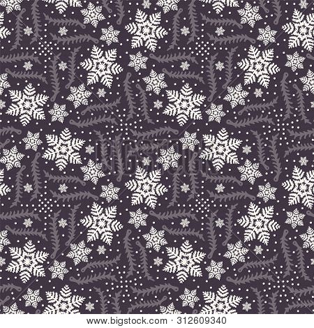 Hand Drawn Abstract Winter Snowflakes Pattern. Stylish Crystal Stars. Black White Background. Elegan