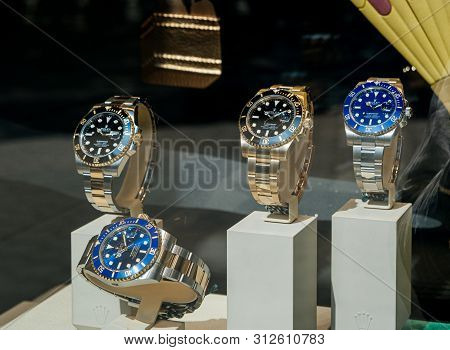 Barcelona, Spain - Jun1 1, 2018: Modern New Last Collection Of Luxury Wrist Swiss Watch Manufactured