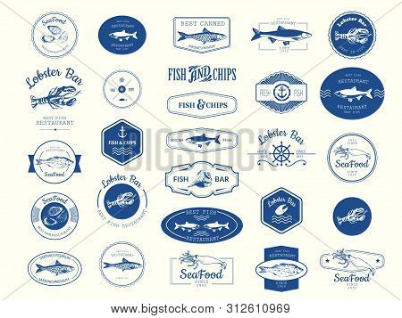 Vector Illustration With Logo For Fish Restaurant Or Fish Market. Logo Set For Fish Restaurant Or Ba