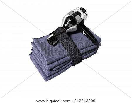 Hotel towel set with hairdryer isolated 3d render on white background no shadow poster