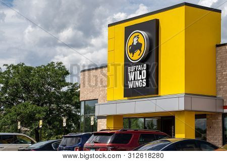 Crystal, Minnesota - July 21, 2019: Exterior Of A Buffalo Wild Wings Chain Restaurant. Also Known As