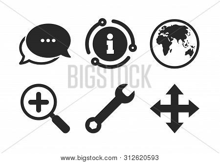 Fullscreen Arrows And Wrench Key Repair Sign Symbols. Chat, Info Sign. Magnifier Glass And Globe Sea