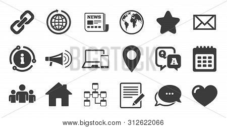 Set Of Communication, Conference And Information Icons. Information, Chat Bubble Icon. E-mail, Print