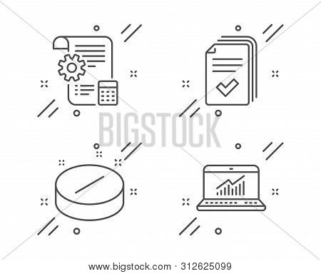 Handout, Settings Blueprint And Medical Tablet Line Icons Set. Online Statistics Sign. Documents Exa