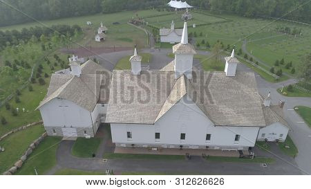 Elizabethtown, Pa May 2019 - Aerial View Of Old Restored Barns On A Spring Day